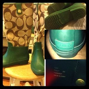 Coach rain boots in green and beige