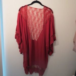 SOLD - Urban Outfitters Renewal Red Lace Bedjacket