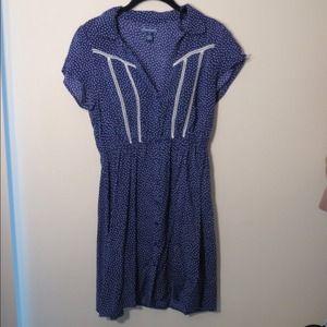 SOLD - Retro navy polka dot dress
