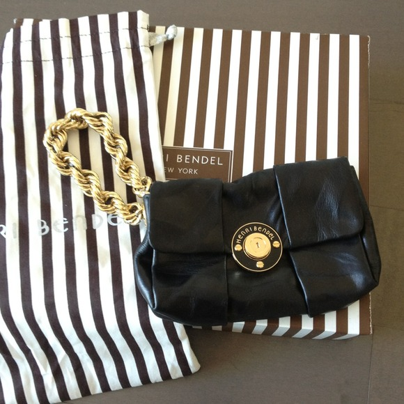 Henri Bendel Handbags - Henri Bendel black leather wristlet clutch