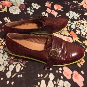 ALDO Shoes - Dark-brown Brogues w/ Neon Yellow Sole