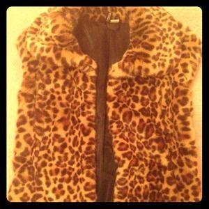 H&m leopard faux fur vest.