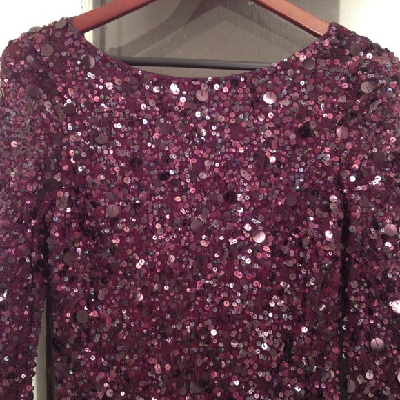 Dresses - Burgundy Sequin Long Sleeve Mini
