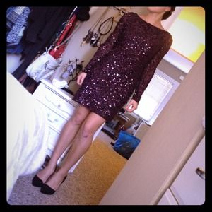 Dresses - Burgundy Sequin Long Sleeve Mini 1