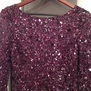 Dresses - Burgundy Sequin Long Sleeve Mini 3