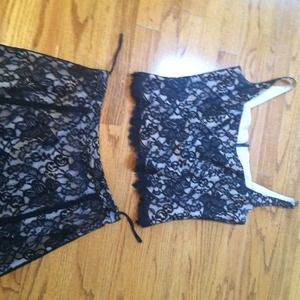 Two Piece Lace top and skirt custom made