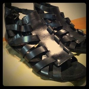 Steven by Steve Madden Shoes - Black leather Steven by Steve Madden wedge sandals
