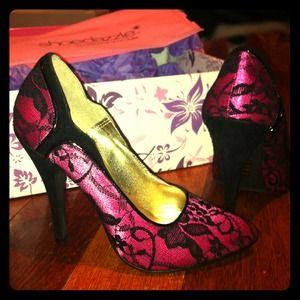 Magenta black lace high heels pumps 7
