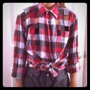 Tops - One of a kind cut out buffalo button down.