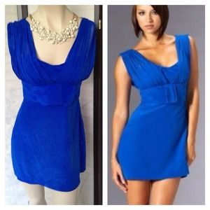 bebe Dresses & Skirts - RESERVE Tara Subkof Bebe Blue Silk Bow Tunic Dress
