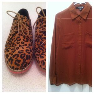 BUNDLE for @ladeeynerd Leopard Oxfords & Camel Top