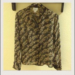 Ann Taylor Silk French Cuff Long SLV Shirt