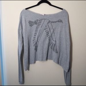 Asymmetrical Bird Print Pullover