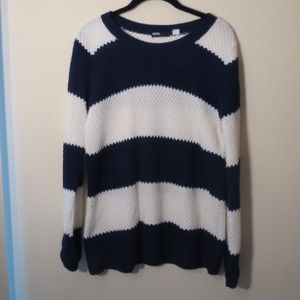 Navy & White Striped Sweater