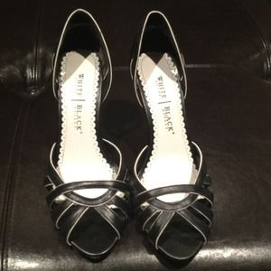 White House Black Market Shoes - White House Black Market Peep Toe Heels
