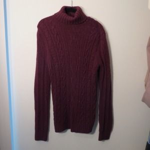 SOLD - Burgundy Cable Knit Sweater