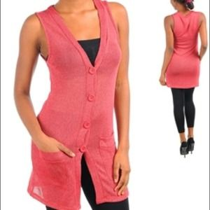 Jackets & Blazers - Coral Sleeveless Cardigan