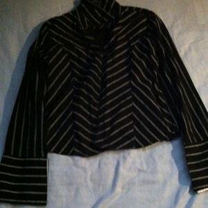 Tops - Pinstripe Button up long sleeve shirt