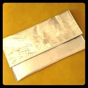 Silver envelope clutch