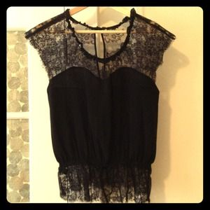 REDUCED Silk and lace peplum blouse