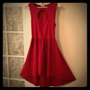 REDUCED! Red knit high-low dress with front cutout
