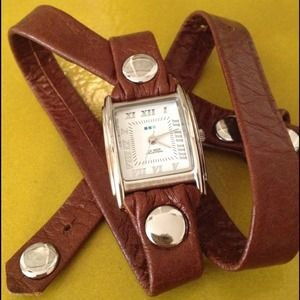 Brown and silver wrap watch from La Mer