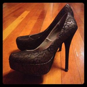 Shoes - SOLD Black Lace Stilettos