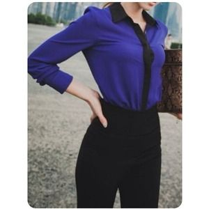 NOT AVAILNew Blue&Black Color Block Blouse