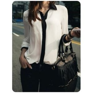 NOT AVAIL New White&Black Chiffon Blouse