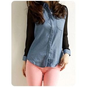 NOT AVAILNew Denim Long Sleeve Chiffon Blouse