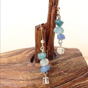 """Jade & Crystal """"Waterfall"""" Earrings Handmade"""