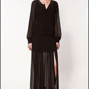 *Reserved @valsaf Zara Chiffon Black Maxi Dress S
