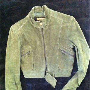 Olive Green Suede Cropped Jacket