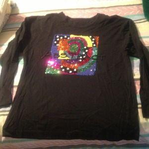 Tops - Long sleeve sequined tee shirt