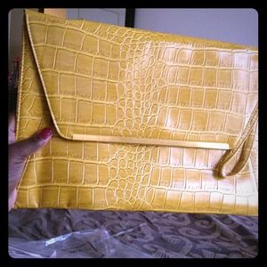 Mustard colored iPad case/laptop bag/ clutch