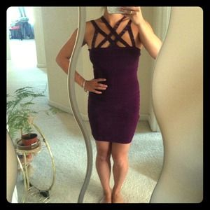 Bebe purple cut out bandage dress