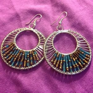 Jewelry - Stylish silver earrings with blue and bronze beads