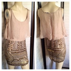 bebe Dresses & Skirts - SOLD Bebe Beige Beaded Embellished Sheer Dress