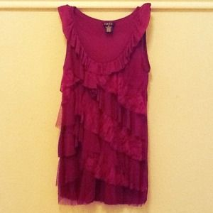 Rue 21 Tops - Burgundy Ruffle Top