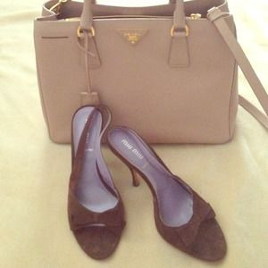 💕HOST PICK💕 Miu Miu brown suede sling back.