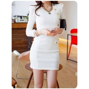 NOT AVAIL New Chic White Button Down Dress