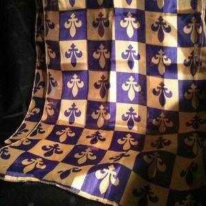 Accessories - Gold & Purple Fleur De Lis Scarf