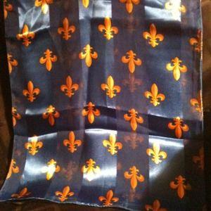 Accessories - Royal Blue w/Gold Fleur De Lis Scarf❤