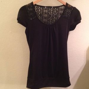 Tops - REDUCED Black top with lace back