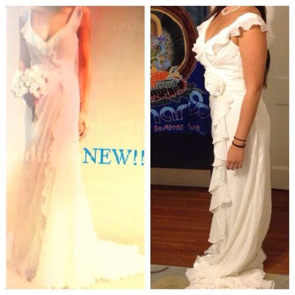 New boho chic off the shoulder ivory wedding gown