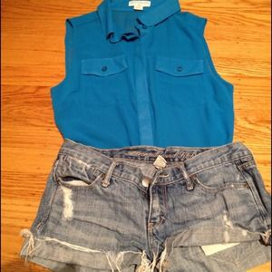cotton on Tops - SOLD !!!!!!Blue sleeveless top