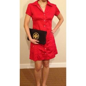 Cherry red shirt dress