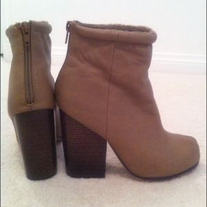 Taupe Bootie with Stacked Heel