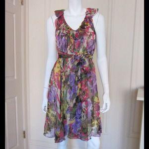 Suzi Chin Floral Silk Chiffon Dress