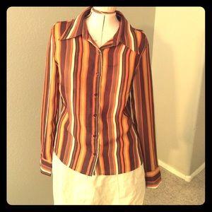 Zara orange, brown,white & red striped blouse